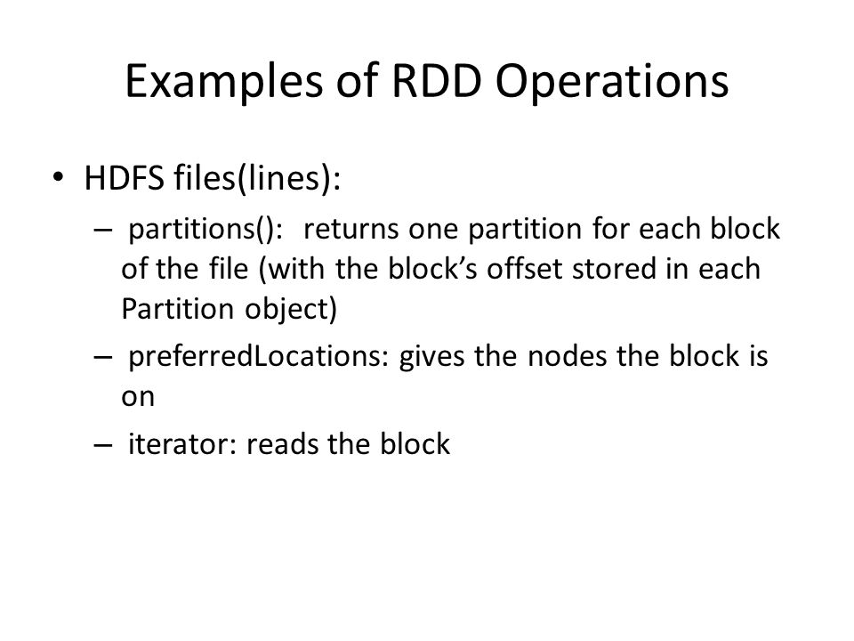 Examples of RDD Operations