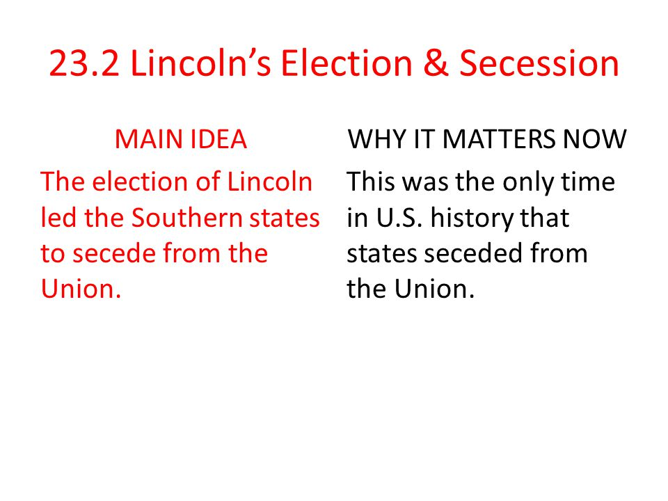 what led the southern states to secede from the union
