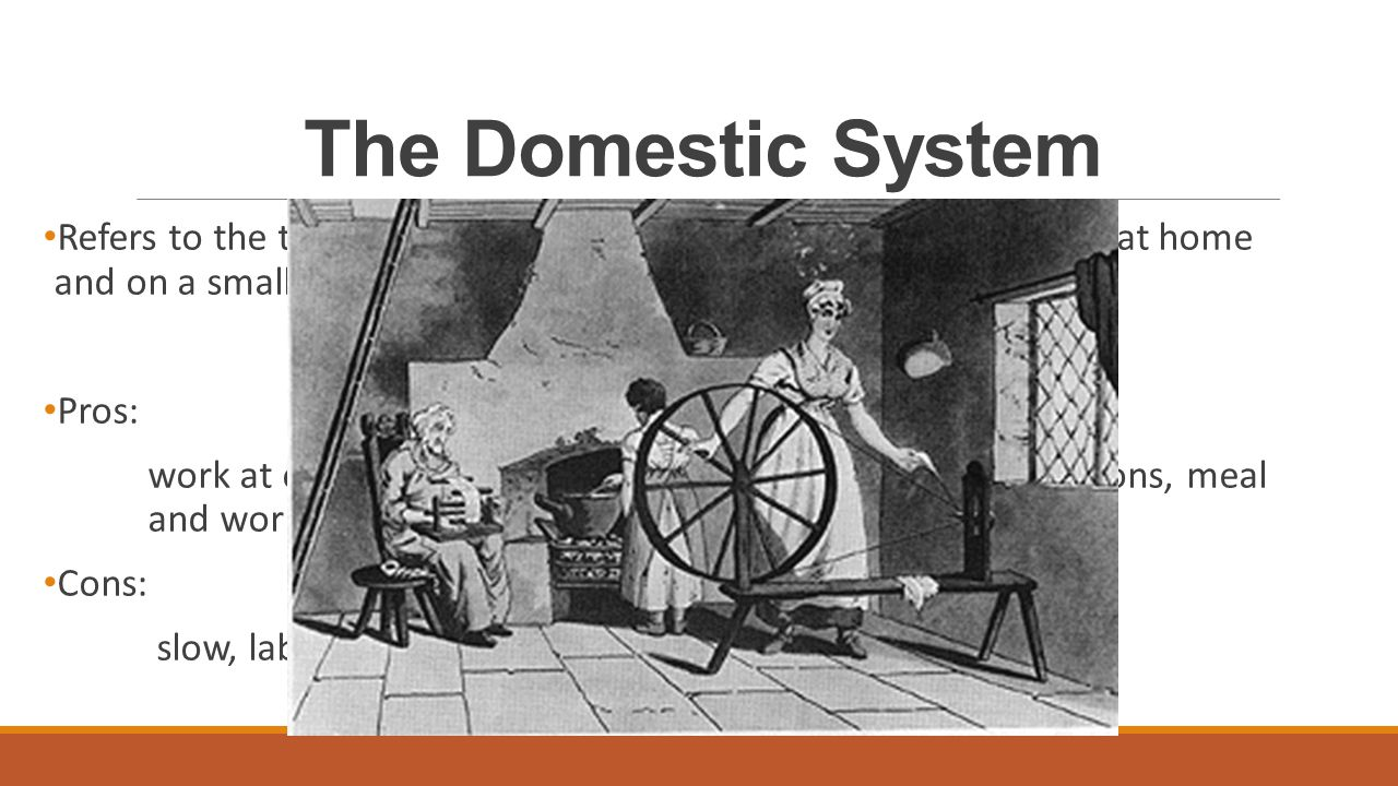 the domestic system The putting-out system is a means of subcontracting work historically, it was also known as the workshop system and the domestic system  in putting-out, work is contracted by a central.