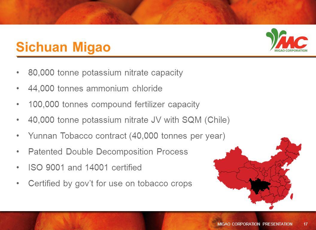 Sichuan Migao 80,000 tonne potassium nitrate capacity