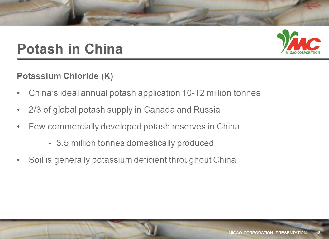 Potash in China Potassium Chloride (K)