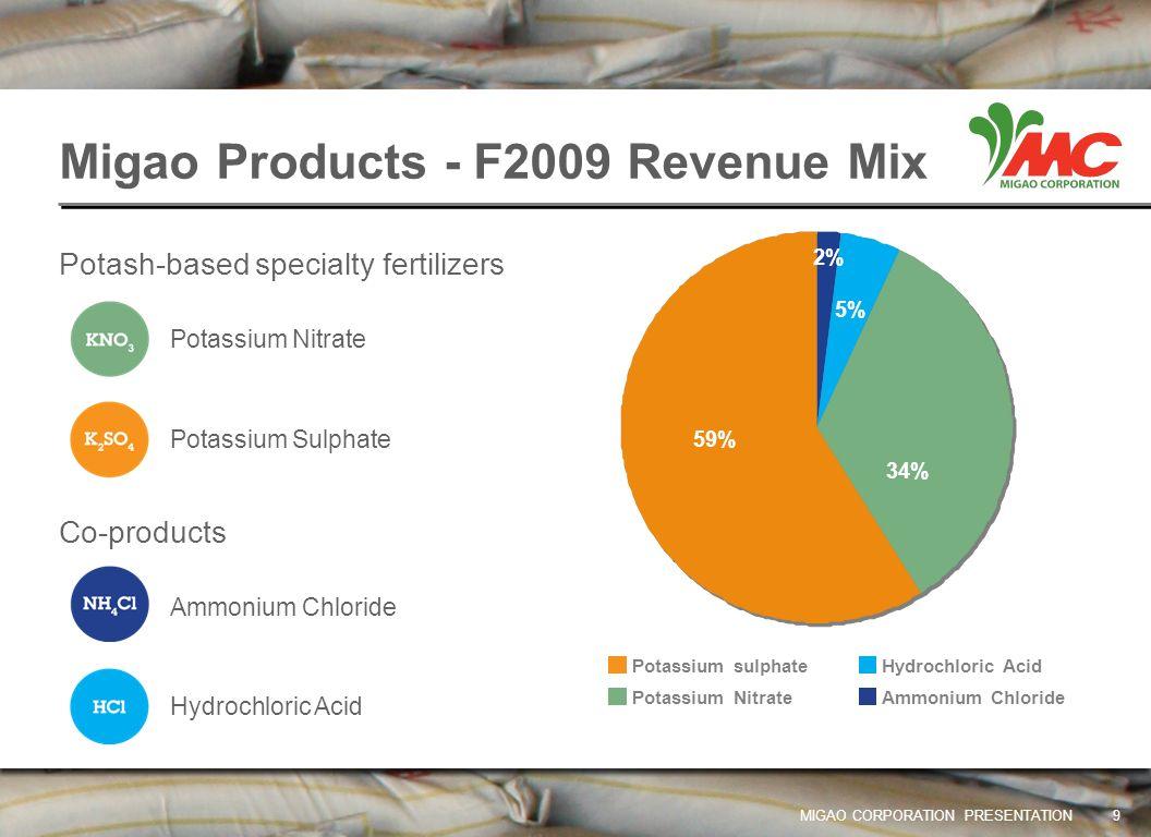 Migao Products - F2009 Revenue Mix