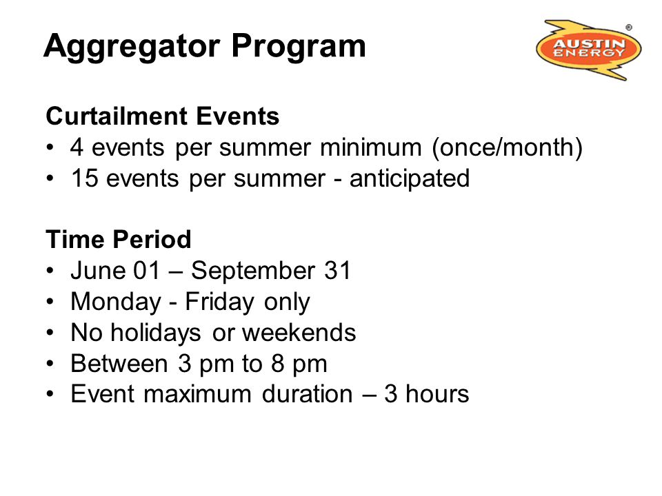 Aggregator Program Curtailment Events