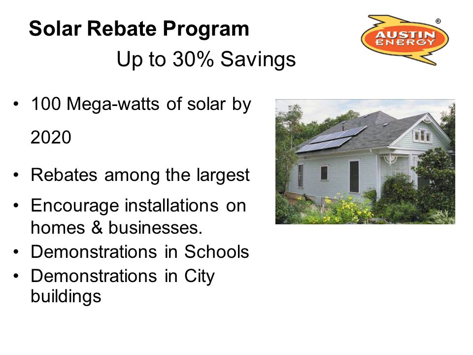 Solar Rebate Program Up to 30% Savings