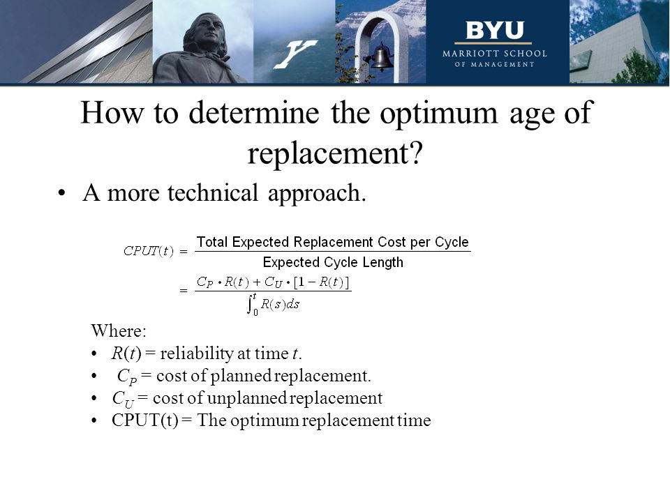How to determine the optimum age of replacement