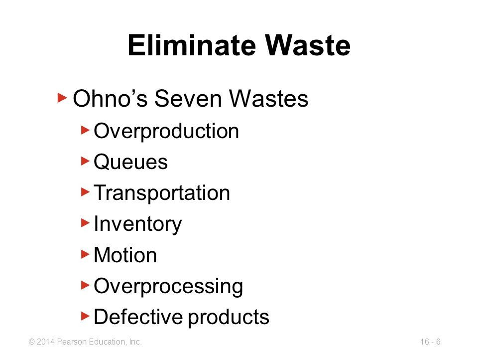 Eliminate Waste Ohno's Seven Wastes Overproduction Queues