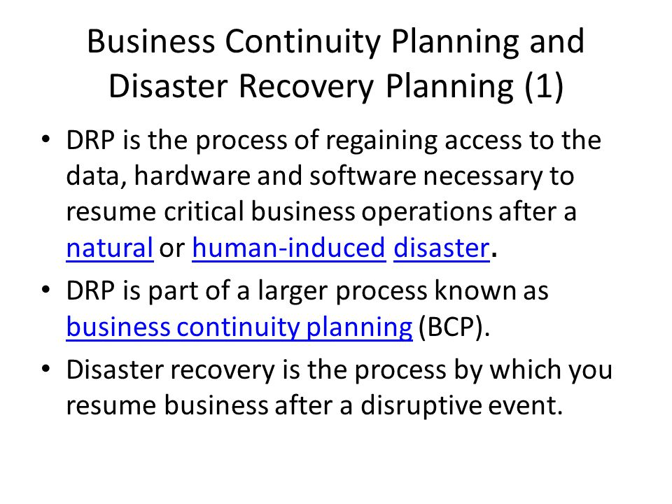 business continuity planning and disaster recovery