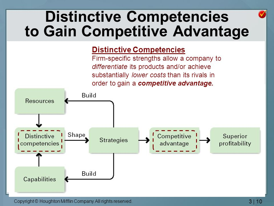 internal analysis distinctive competencies competitive advantage Businesses can develop core competencies by identifying key internal strengths and what core competencies give an organization competitive advantage small.