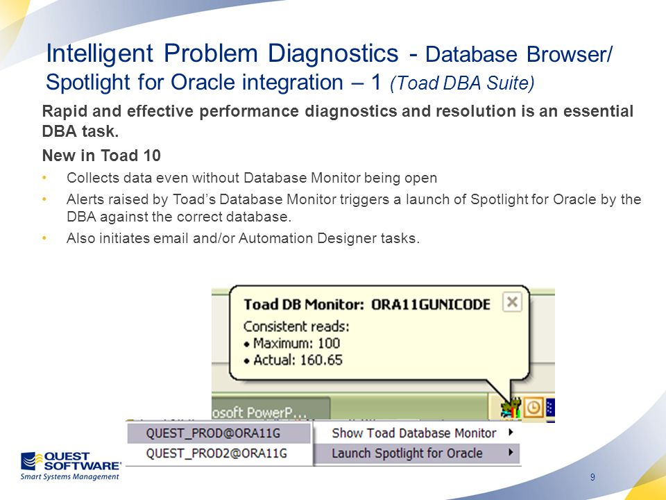 Intelligent Problem Diagnostics - Database Browser/ Spotlight for Oracle integration – 2 (Toad DBA Suite)