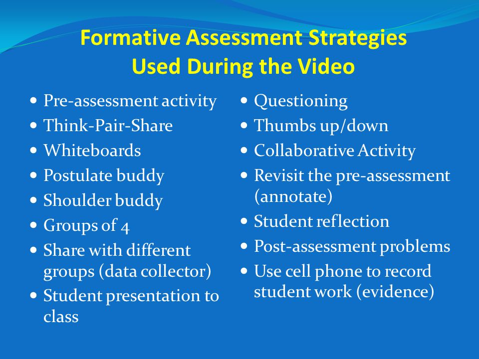 Formative Assessment Strategies  Non Threatening Formative