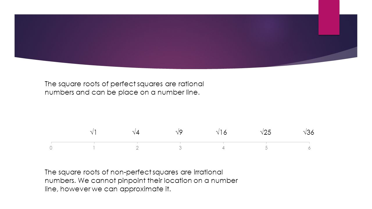 The square roots of perfect squares are rational numbers and can be place on a number line.