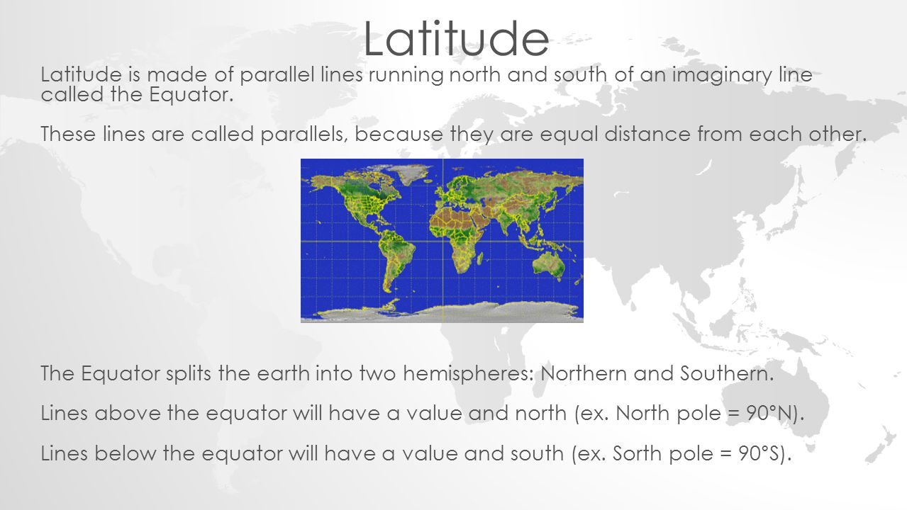 Latitude Latitude is made of parallel lines running north and south of an imaginary line called the Equator.