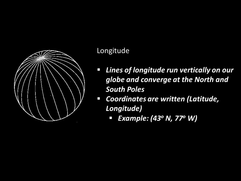 Longitude Lines of longitude run vertically on our globe and converge at the North and South Poles.