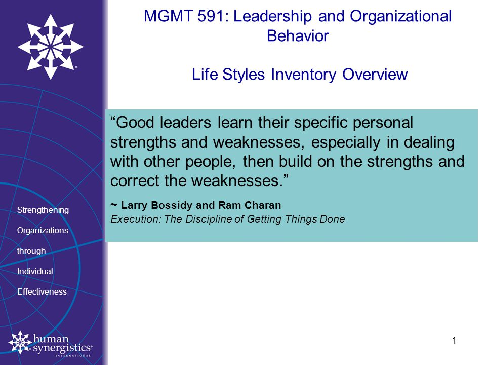 life style inventory organization and leadership behavior