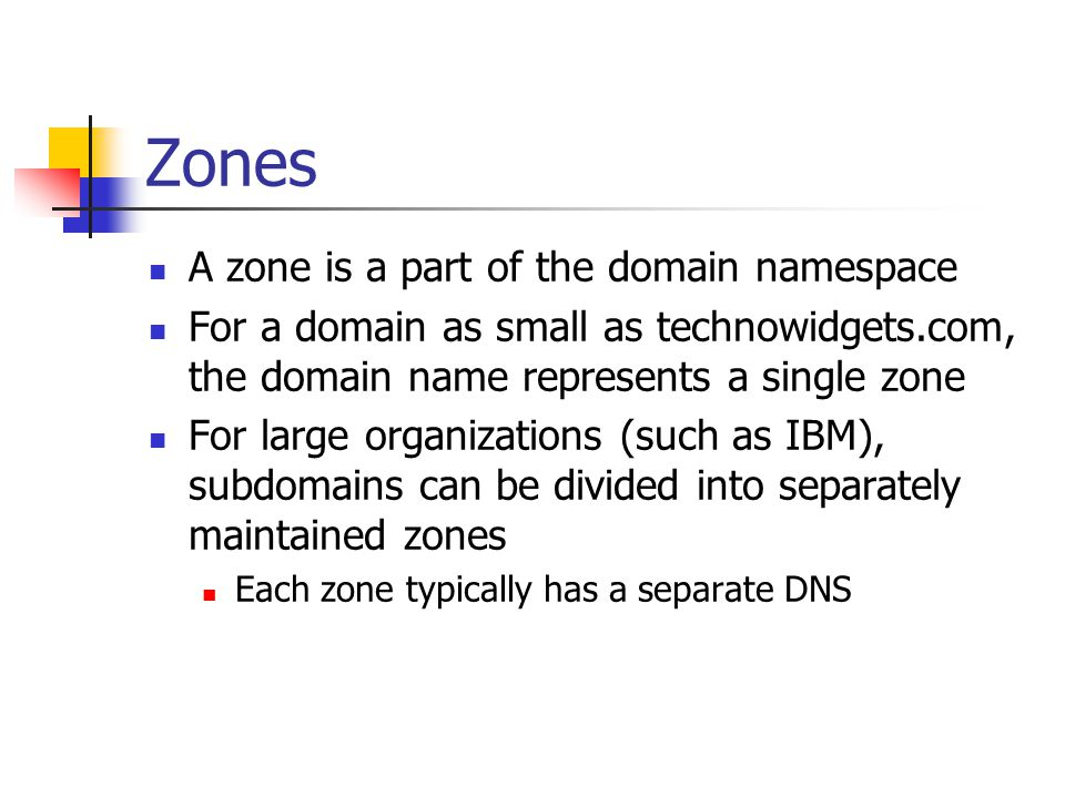 Zones A zone is a part of the domain namespace