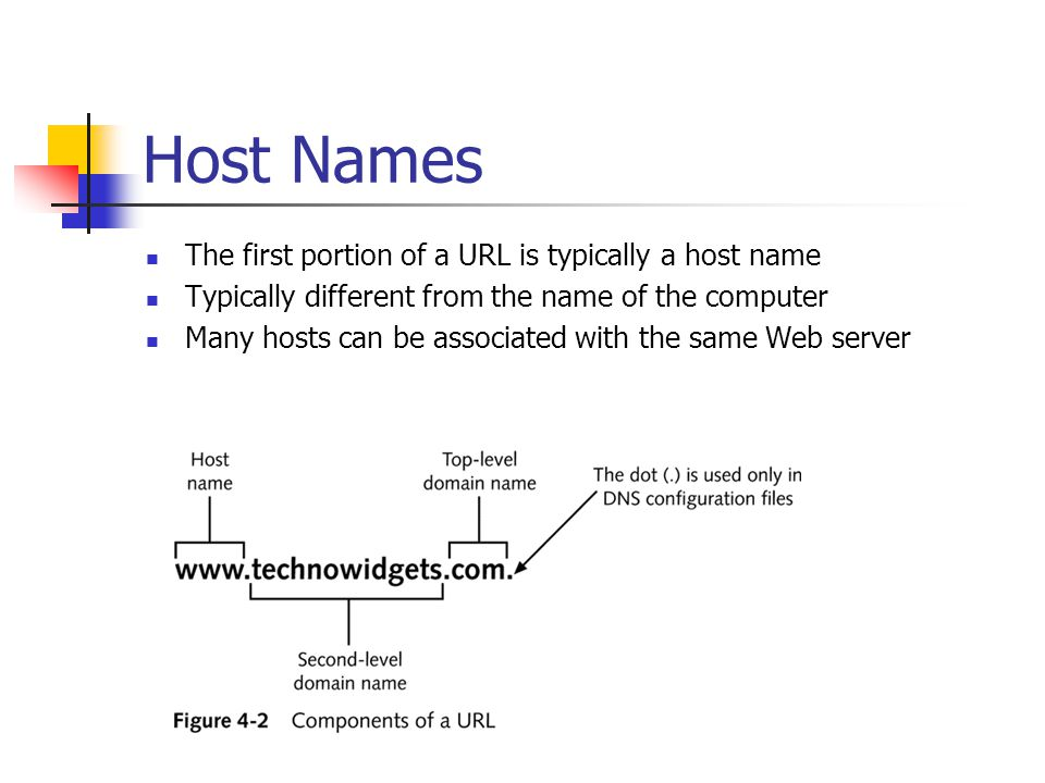 Host Names The first portion of a URL is typically a host name