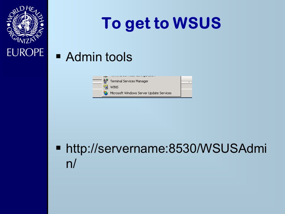 To get to WSUS Admin tools