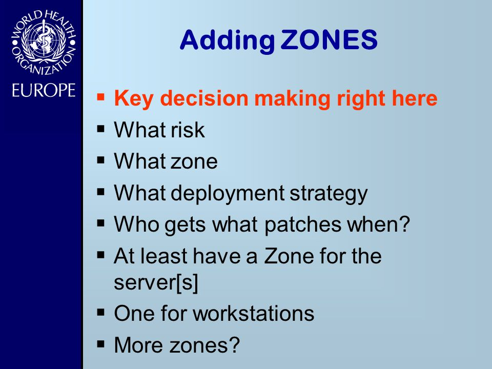 Adding ZONES Key decision making right here What risk What zone