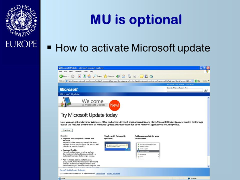 MU is optional How to activate Microsoft update