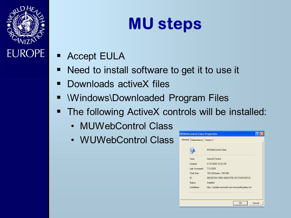 MU steps Accept EULA Need to install software to get it to use it