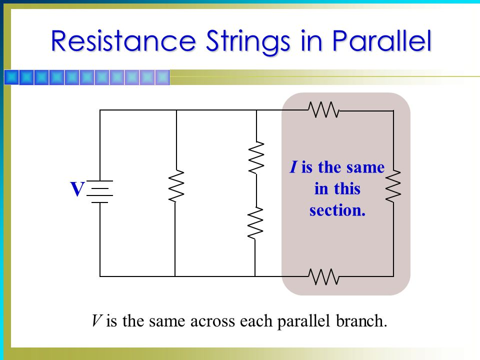Resistance Strings in Parallel