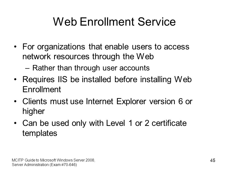 Certificate template for web enrollment choice image certificate certificate template version 2 web enrollment gallery chapter 9 deploying iis and active directory certificate services yelopaper Choice Image