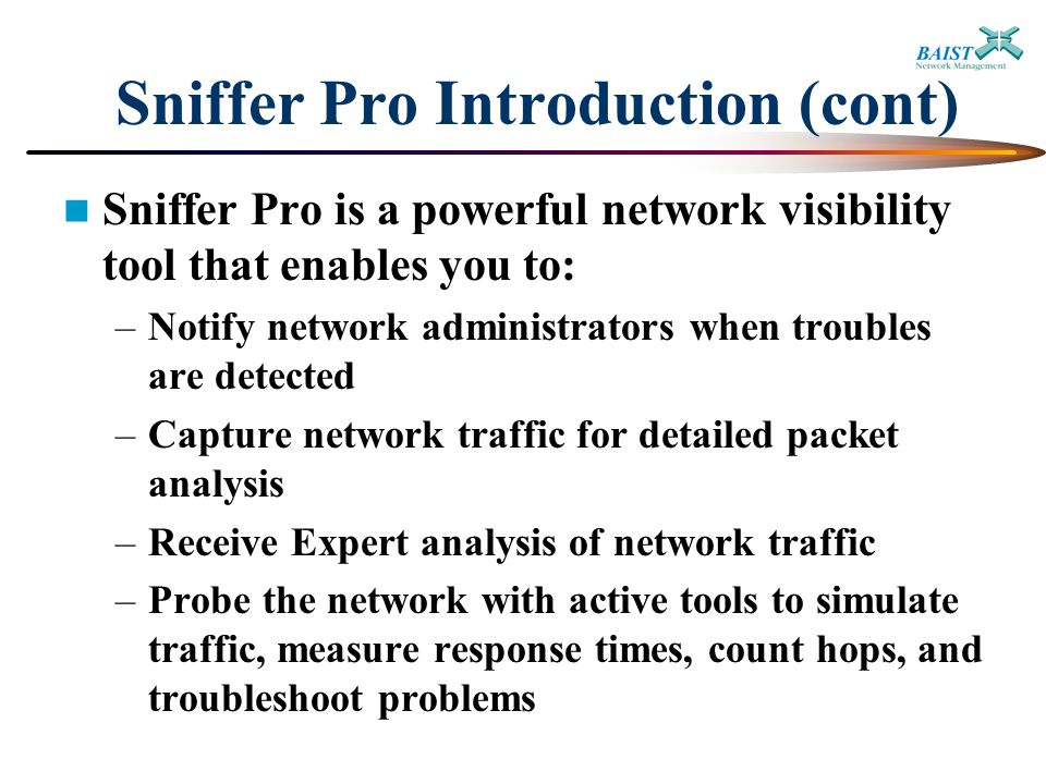 Sniffer Network Analyzer Pro : Introduction to network analysis and sniffer pro ppt