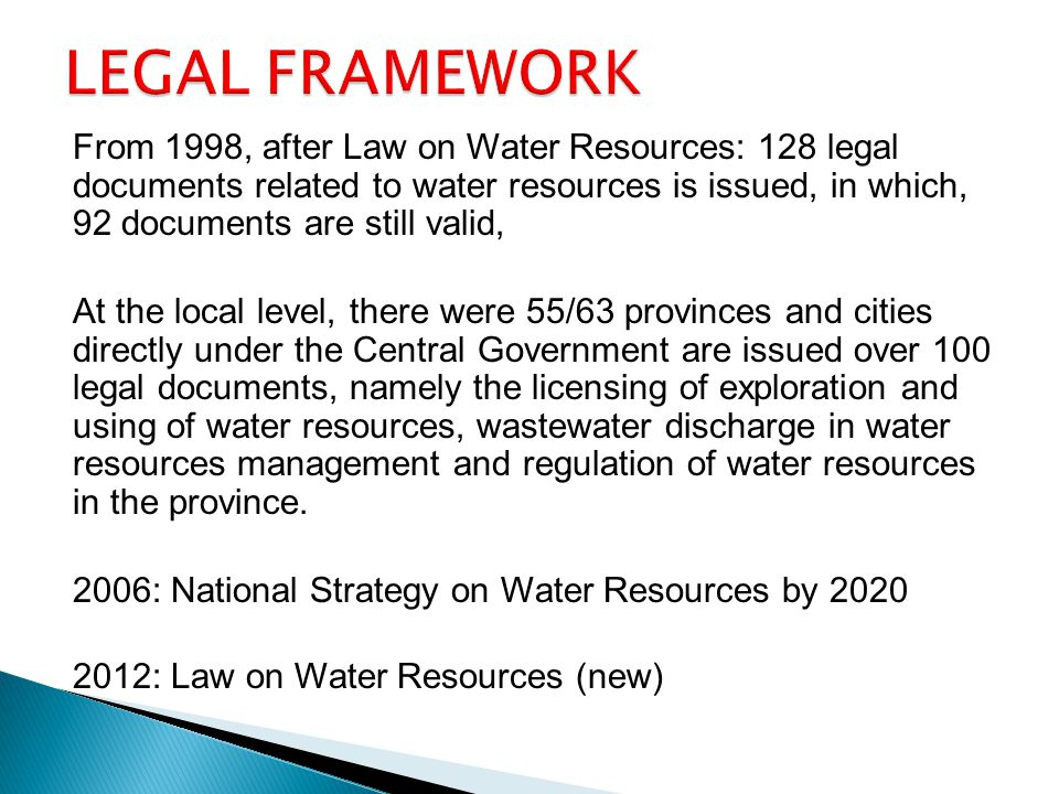 8 Legal and policy framework