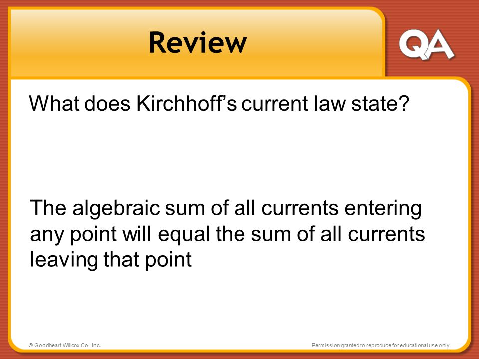 Review What does Kirchhoff's current law state