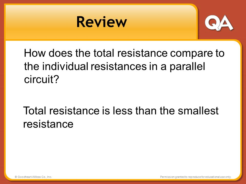 Review How does the total resistance compare to the individual resistances in a parallel circuit