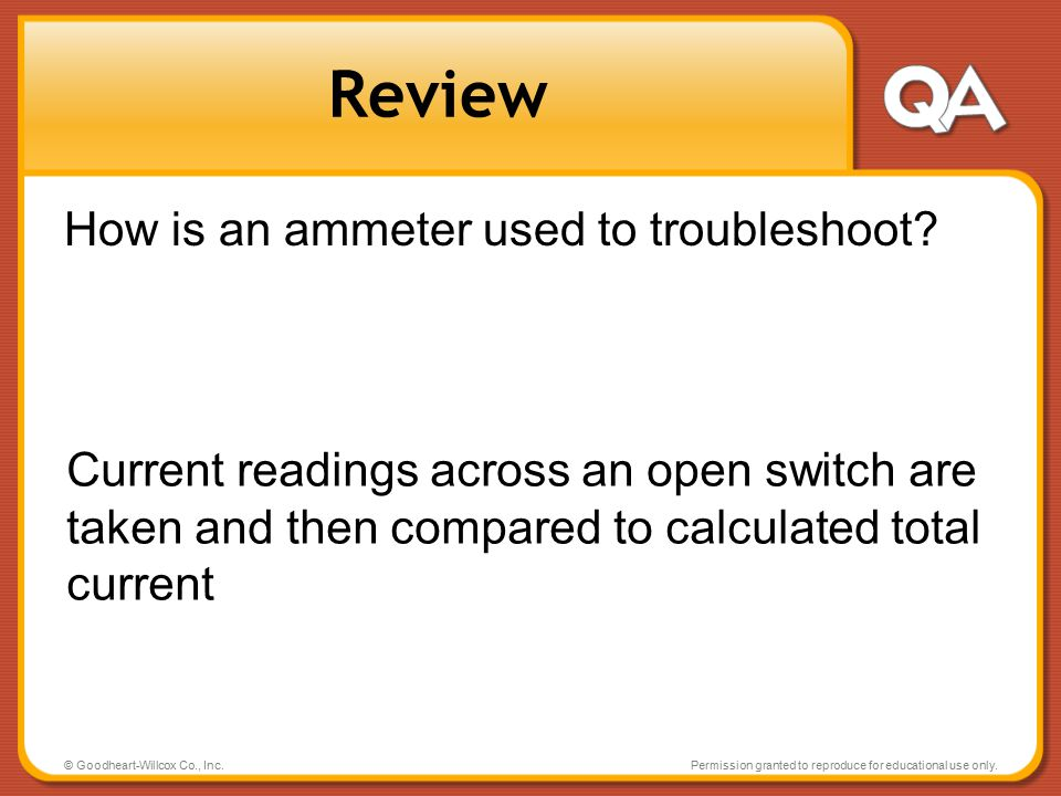 Review How is an ammeter used to troubleshoot