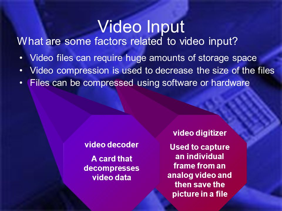 A card that decompresses video data