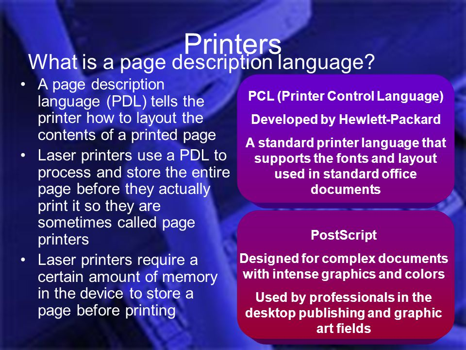 Printers What is a page description language
