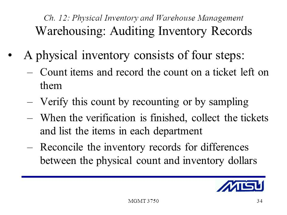 physical count of inventory