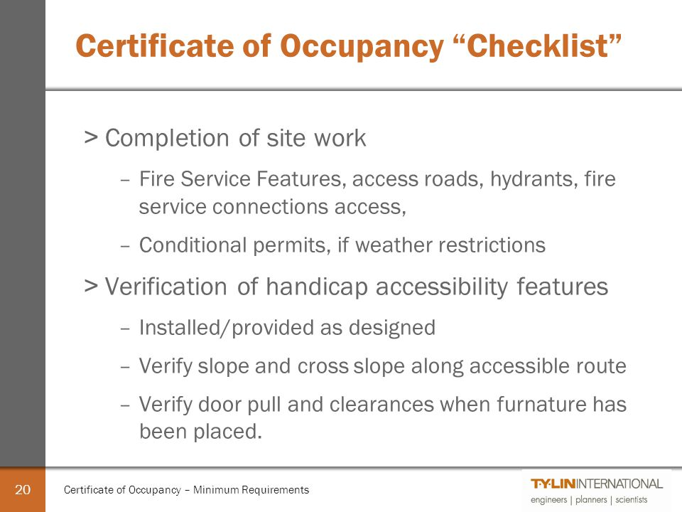 Certificate Of Occupancy Minimum Requirements Ppt