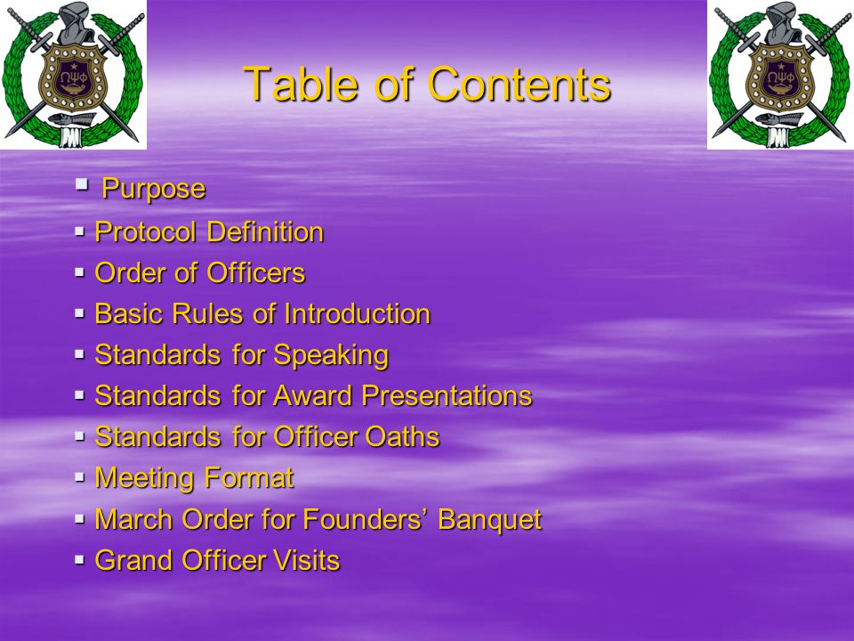 Table Of Contents Purpose Protocol Definition Order Of Officers
