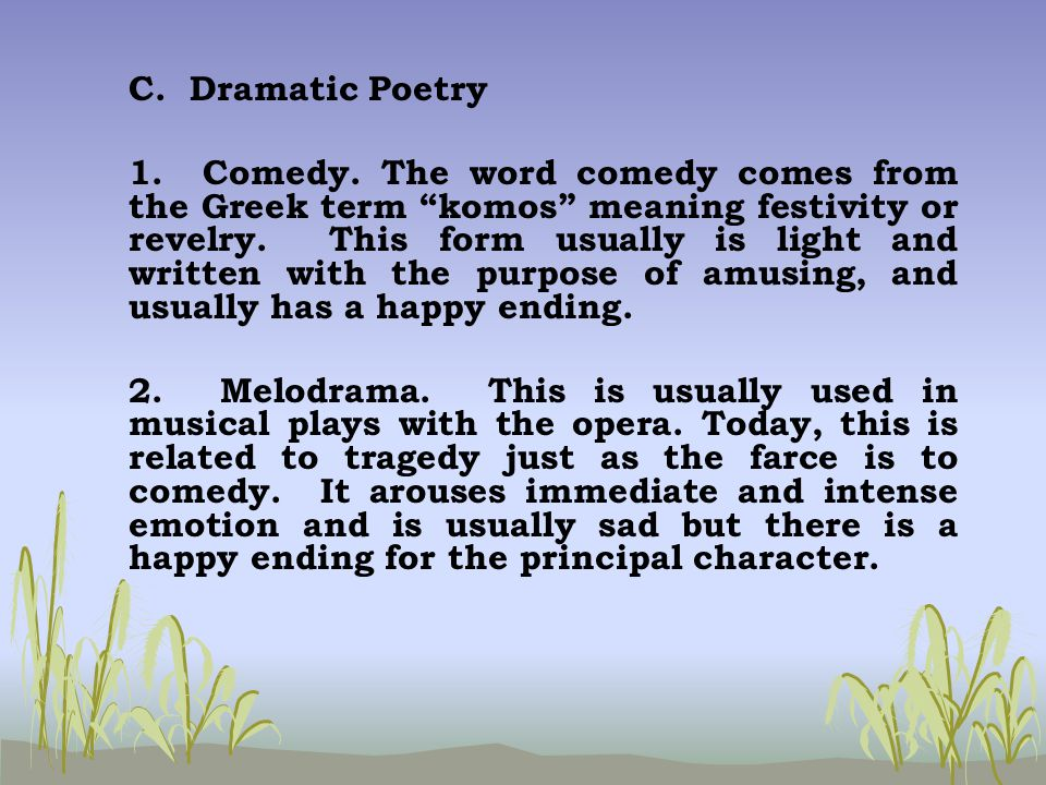 Philippine literature ppt download for Farcical comedy definition