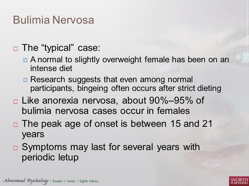 case study anorexia nervosa and bulimia nervosa Controlled family study of anorexia nervosa and bulimia nervosa: evidence of shared liability and transmission of partial syndromes.