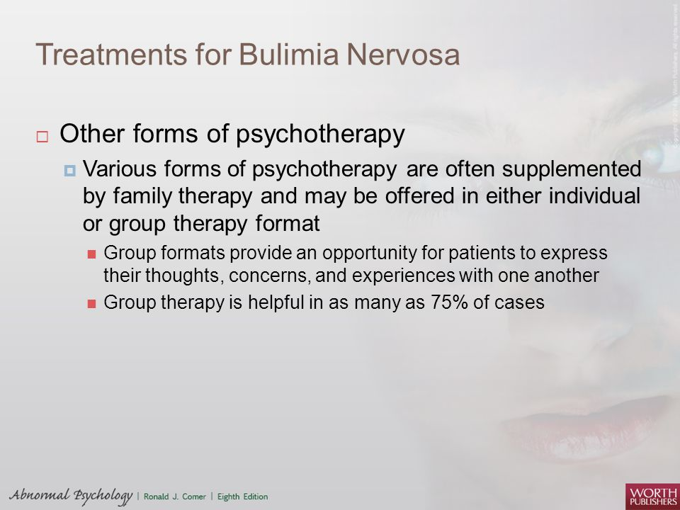 counseling women with bulimia nervosa 90 % of those who have eating disorders are women between the ages of 12 and 25 substance abuse and mental health services administration, the center for mental health services, offices of the us department of health and human services  11 % - 42 % of females suffer from bulimia nervosa in their lifetime national institute of mental.