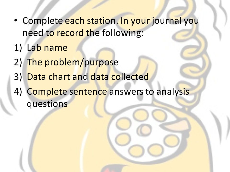 Complete each station. In your journal you need to record the following: