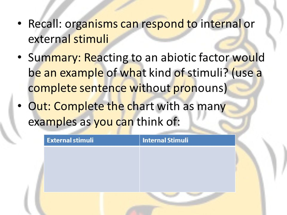 Recall: organisms can respond to internal or external stimuli
