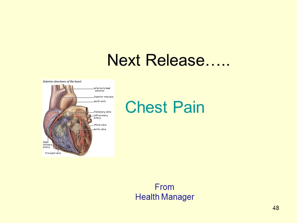 Next Release….. Chest Pain From Health Manager