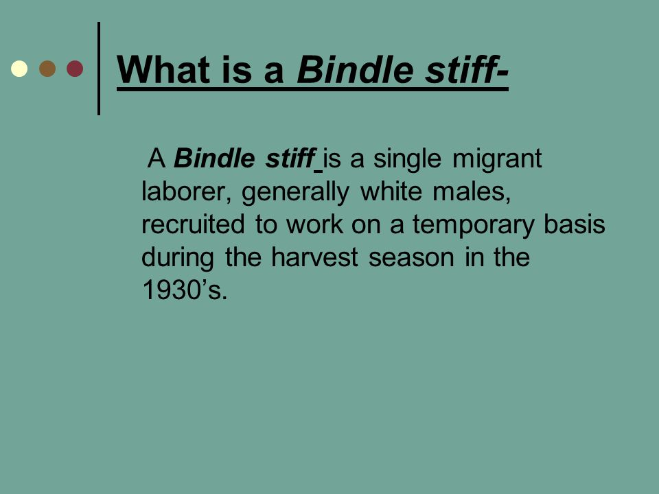 What is a Bindle stiff-