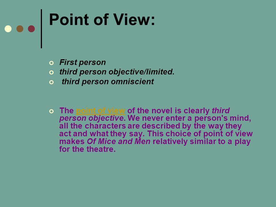 Point of View: First person third person objective/limited.