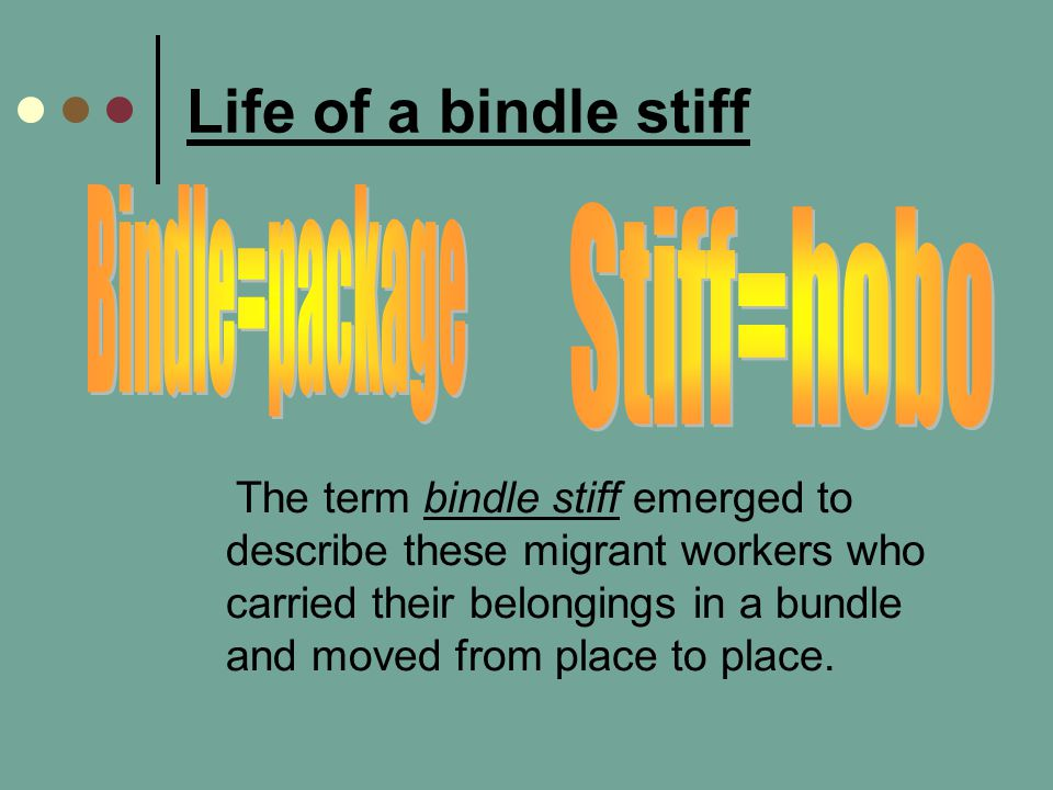 Life of a bindle stiff Bindle=package Stiff=hobo