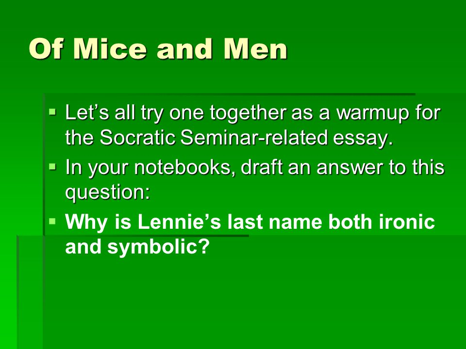essay questions and answers for of mice and men This lesson includes essay questions from john steinbeck's of mice and men  that will allow students to show a deeper understanding of the novel.