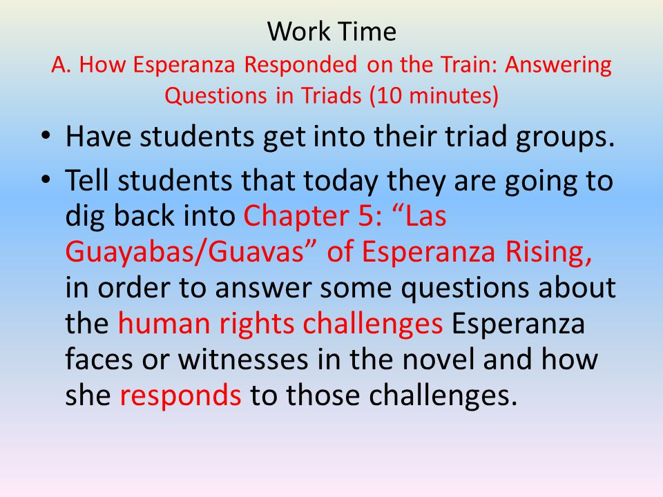 esperanza rising 5 paragraph essay Topic: human rights task: students reread a literary text, and answer selected response questions and write a paragraph about it (mid-unit assessment)students revise a literary essay comparing and contrasting character reactions to events that threaten their human rights in esperanza rising (end of unit assessment.