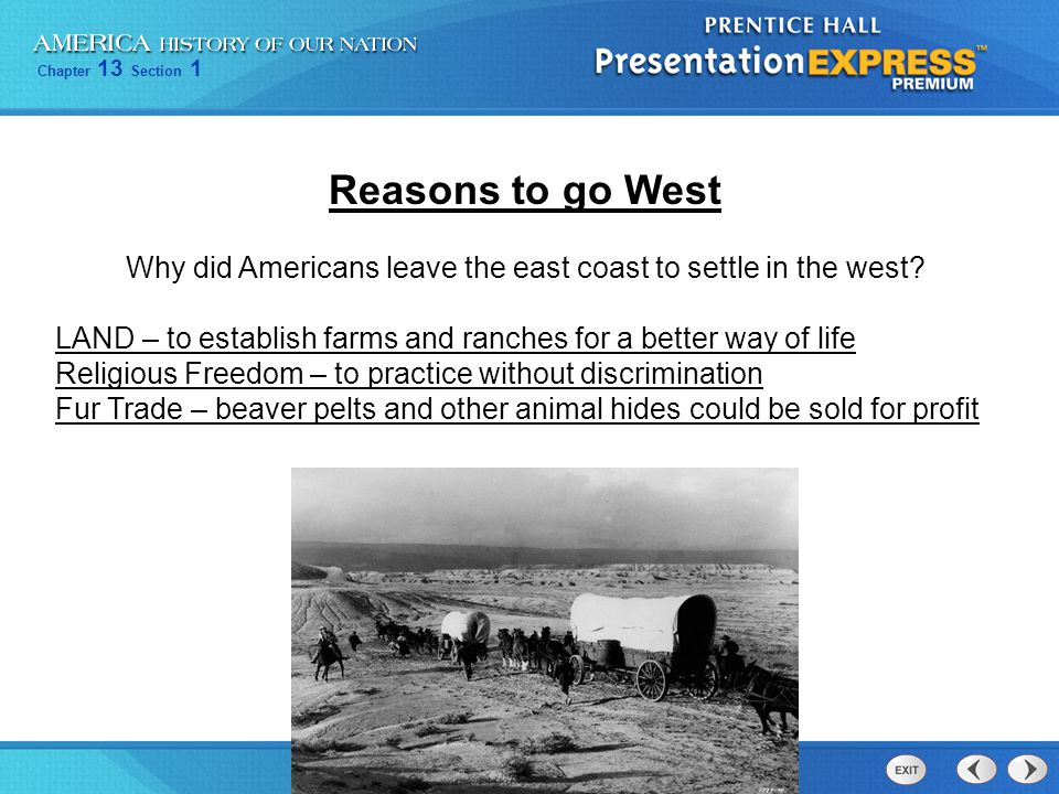 Why did Americans leave the east coast to settle in the west
