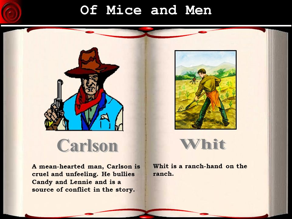 of mice and men what kind of man is carlson Of mice and men chapter 3 summary - of mice and men by john steinbeck  chapter 3 summary  candy joins them in the bunkhouse followed by his old  dog, and carlson starts  there are all kinds of vegetables and cows and  chickens.