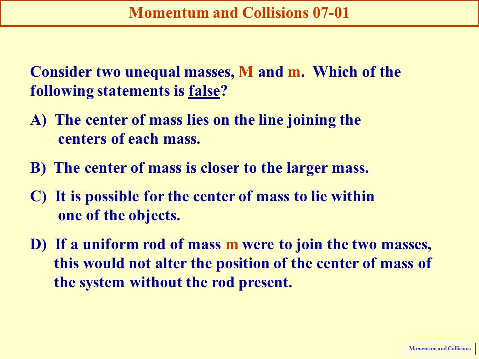 momentum and collisions Momentum and collisions, animations and video film clips physclips provides multimedia education in introductory physics (mechanics) at different levels modules may.
